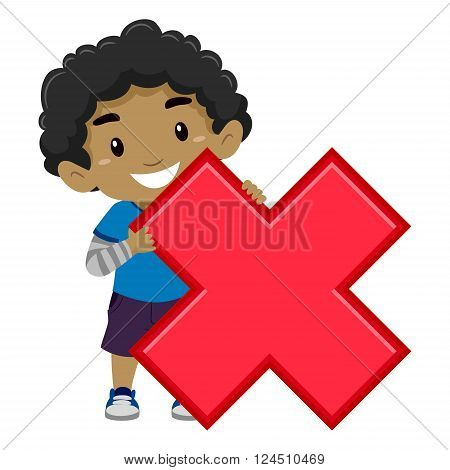 Vector Illustration of a Boy holding Multiplication Symbol