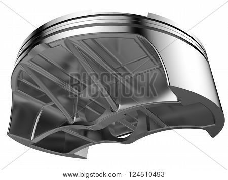 3D render chromed piston. Detail of automobile engine.