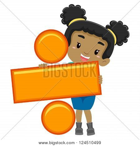 Vector Illustration of a Girl holding Division Symbol