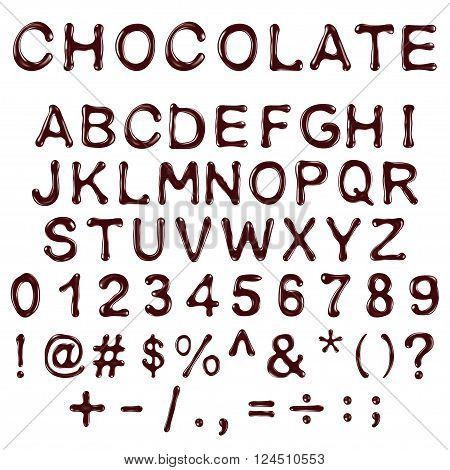 vector alphabet letters numbers and symbols made of chocolate syrup