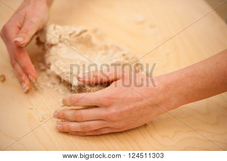 Kneading Dough, Preparing Homemade Bread Out Of Spelt Flour.