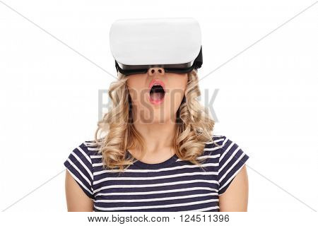 Surprised woman wearing virtual reality googles isolated on white background