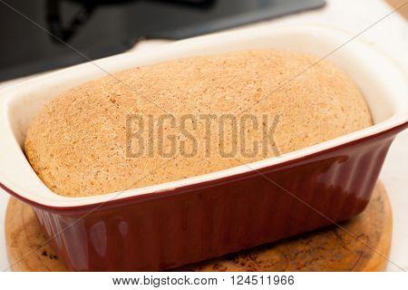 Hand Knead Spelt Bread, Fresh Baked In Baking Sheet.