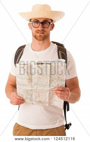 Traveler With Straw Hat, White Shirt, Backpack And Map Seems Like He Is Lost.