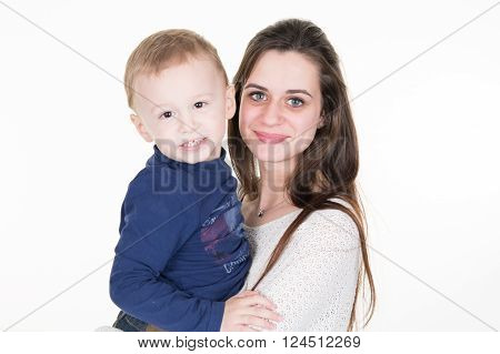 Teenage mother spending time with her 3 years old son isolated