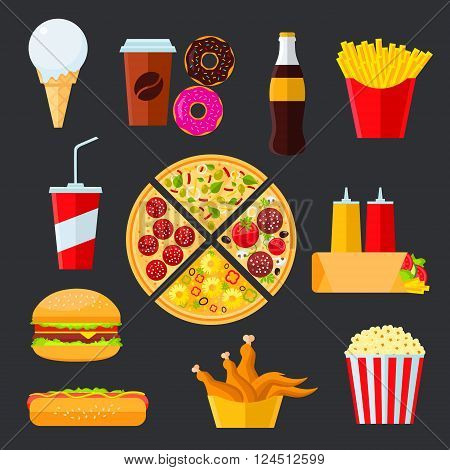 Pizza composed of different slices with vegetarian and meat toppings, surrounded byhamburger and hot dog, french fries and soda drink, coffee and fried chicken, popcorn and donuts, ice cream cone, tortilla with ketchup and mustard