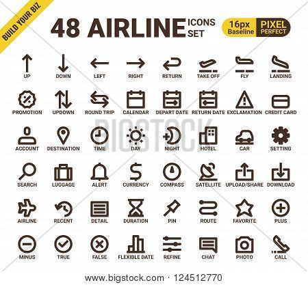 Airline Web Universal Pixel Perfect Line Icons