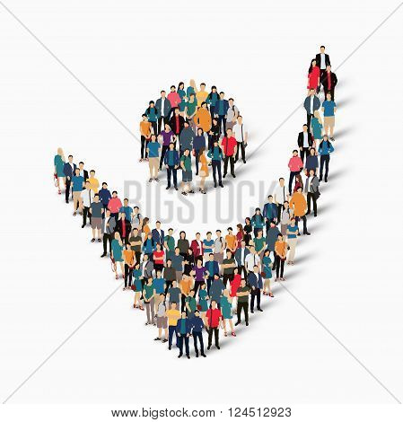Isometric set of styles , dancing man , web infographics concept  illustration of a crowded square, flat 3d. Crowd point group forming a predetermined shape. Creative people. - Vector Illustration. Stock vector.