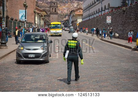 Traffic Police Woman In The Streets Of Cusco, Peru