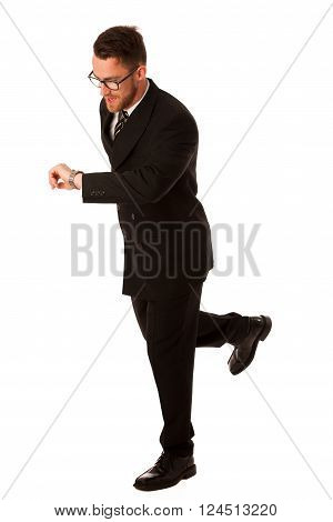 Successful Businessman In Formal Suit Chacking Time On Wrist Watch.