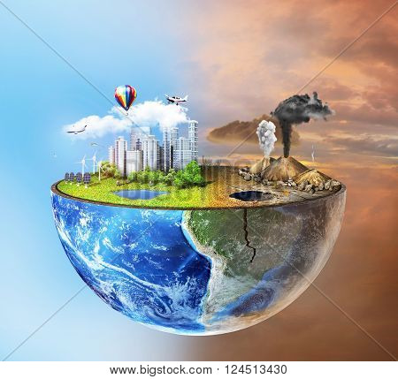 Eco concept. Half sphere of earth with light side and darker side. One side is eco city different side is empty and dry ground with mountains.