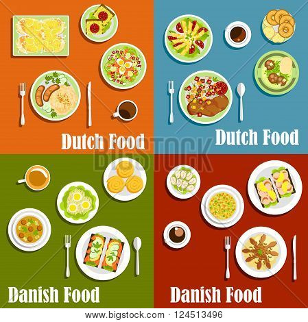Traditional dutch and danish open sandwiches on rye bread , served with seafood and cheese, meat and fish dishes garnishing with fresh vegetables, sauerkraut and egg salad, cinnamon rolls, pancakes and donuts