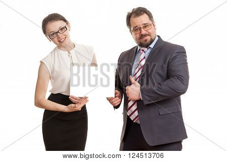 The Woman And The Man Hold A Sheet Of Paper