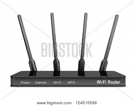 Modern Wi-Fi Router. Isolated on a white background 3d image