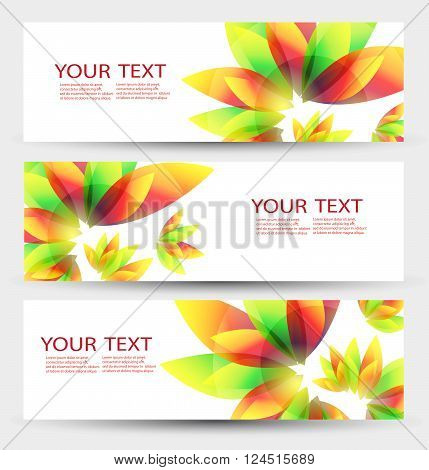 Set of three nature vector banners with floral elements and place for text. Nature header