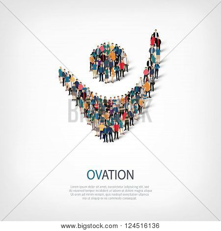 Isometric set of styles, ovation , web infographics concept  illustration of a crowded square, flat 3d. Crowd point group forming a predetermined shape. Creative people. - Vector Illustration. Stock vector.