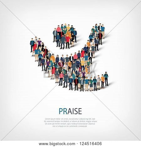 Isometric set of styles, praise , web infographics concept  illustration of a crowded square, flat 3d. Crowd point group forming a predetermined shape. Creative people. - Vector Illustration. Stock vector.