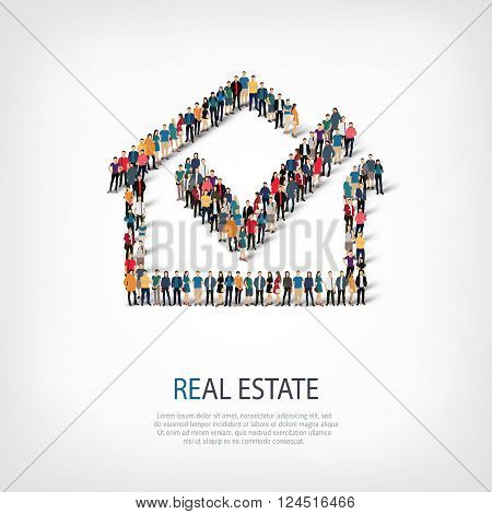 Isometric set of styles, real estate , web infographics concept  illustration of a crowded square, flat 3d. Crowd point group forming a predetermined shape. Creative people. - Vector Illustration. Stock vector.