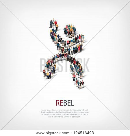 Isometric set of styles, rebel , web infographics concept  illustration of a crowded square, flat 3d. Crowd point group forming a predetermined shape. Creative people. - Vector Illustration. Stock vector.