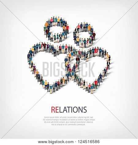 Isometric set of styles, relations , web infographics concept  illustration of a crowded square, flat 3d. Crowd point group forming a predetermined shape. Creative people. - Vector Illustration. Stock vector.