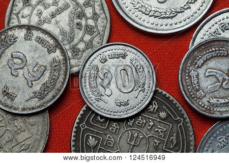 Coins of Nepal. Nepalese 10 paisa coin.