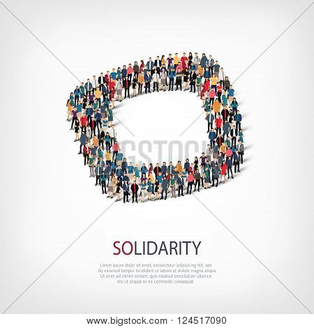 Isometric set of styles, solidarity  , web infographics concept  illustration of a crowded square, flat 3d. Crowd point group forming a predetermined shape. Creative people. - Vector Illustration. Stock vector.