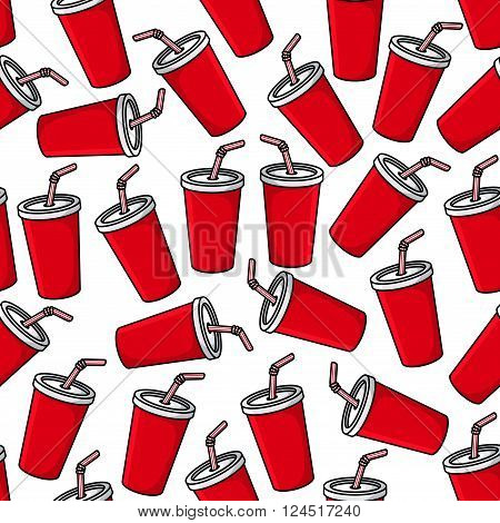 Fast food soft drink background with seamless pattern of red paper cups of sweet soda beverage and striped drinking straws. Takeaway menu background or cafe interior design