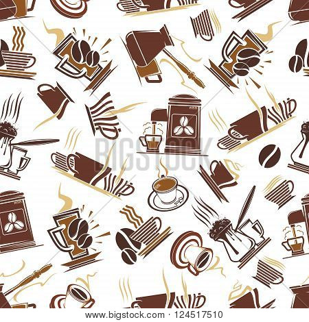 Coffee shop seamless brown pattern of trays with steaming cups of hot chocolate and tall glass mugs with cappuccino, retro coffee machines and pots with turkish coffee. Cafe or kitchen interior themes design