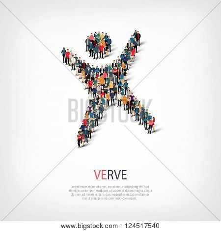 Isometric set of styles, verve , web infographics concept  illustration of a crowded square, flat 3d. Crowd point group forming a predetermined shape. Creative people. - Vector Illustration. Stock vector.