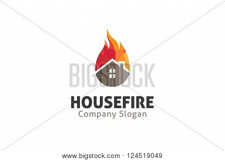 House Fire Creative And Symbolic Logo Design Illustration
