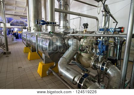 Saint-Petersburg Russia - March 1 2016: Brewhouse for beer and soft drinks plant. Vats and beverage containers.