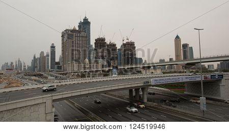 DUBAI UAE - 1 APRIL 2016: Dubai Metro as world's longest fully automated metro network (75 km). April 1 2016 Dubai UAE.