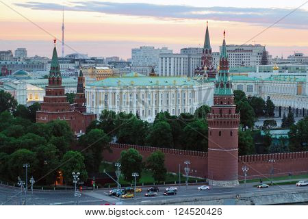 Grand Kremlin Palace, Towers of Kremlin at summer evening in Moscow, Russia