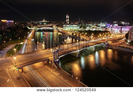 Bridge of Bogdan Khmelnitsky on Moskva river in summer night in Moscow, Russia