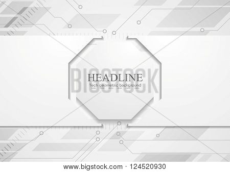 Tech grey abstract corporate background with circuit board and octagon. Vector design