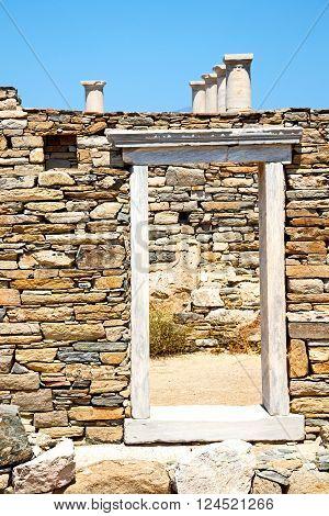 Archeology  In Delos Greece Door  Ruin Site
