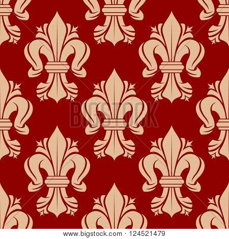 French heraldic lilies seamless pattern with bold ornament of beige fleur-de-lis symbols on red background. Vintage interior accessories, royal theme background or fabric design