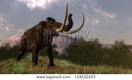 Mammoth walking in the nature by day - 3D render