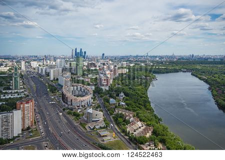 Neighborhood Khoroshevo-Mnevniki, highway, river and forest at summer in Moscow, Russia