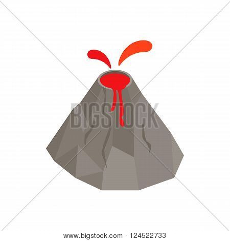 Volcano erupting icon in isometric 3d style on a white background