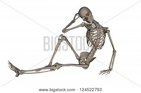 Frontview of handsome human skeleton isolated in white background - 3D render