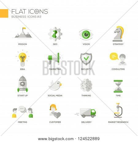 Set of modern vector office thin line flat design icons and pictograms. Marketing, customer, consulting, market, research, strategy, time, delivery, meeting