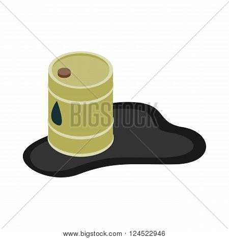 Oil barrel spill puddle icon in isometric 3d style on a white background