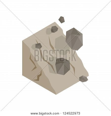 Rockfall icon in isometric 3d style on a white background