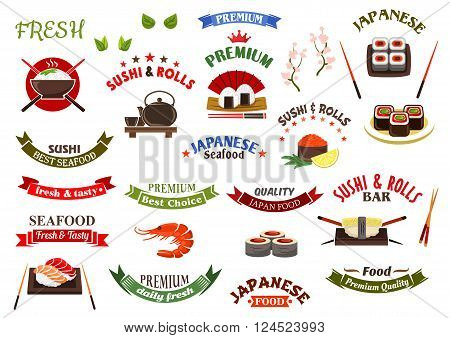 Design elements for japanese seafood restaurant and sushi bar menu with rice bowl, sushi rolls and nigiri with chopsticks, shrimp and tea set, ribbon banners with headers, blooming sakura, crowns and stars