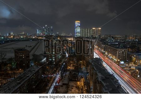 Residential district and third transport ring in Moscow, Russia, night view