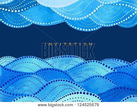 invitation card on navy blue background with duplex watercolor waves ornament - vector illustration