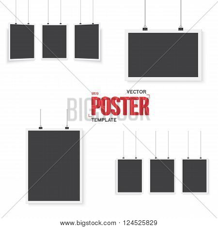 Illustration of Isolated Vector Poster Mockup Set. Realistic EPS10 Vector Set Paper Posters Isolated on White Background