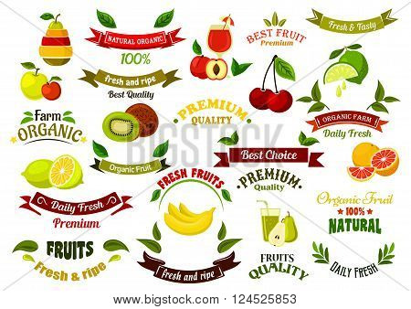 Ripe farm fruits design elements for agriculture and farm market design with ripe apples and pears, oranges and peaches, bananas and lemons, limes and kiwis, cherries, glasses of fresh squeezed juice and ribbon banners with green leaves and stars