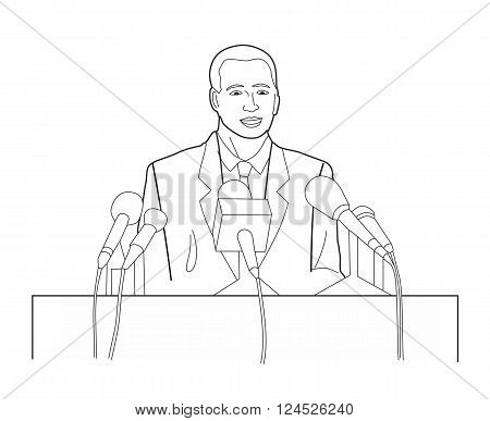 Business manager character making public presentation speech at tribune with microphone. Black vector illustration isolated on white background